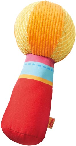 Skallra tyg röd/gul