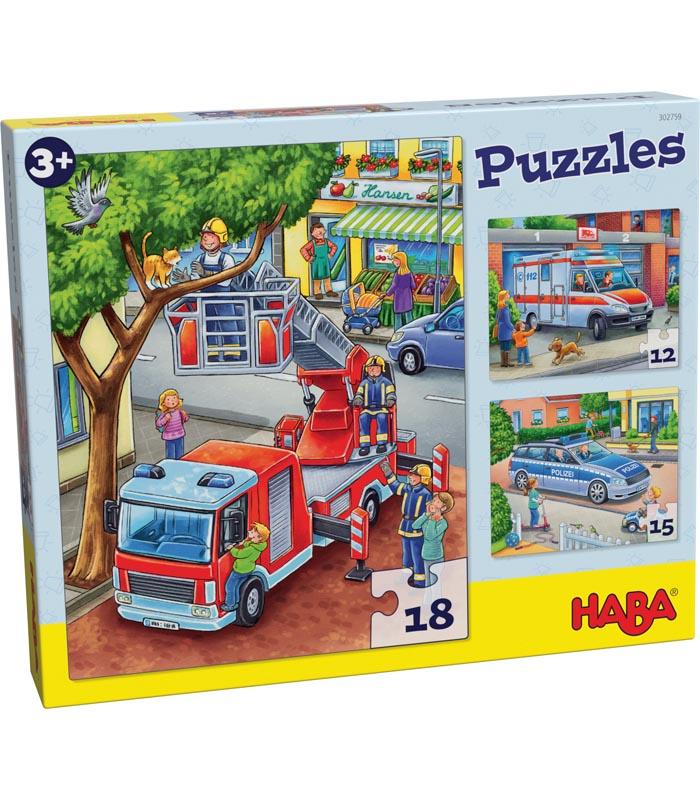 Haba Barnpussel Brandbil, polisbil