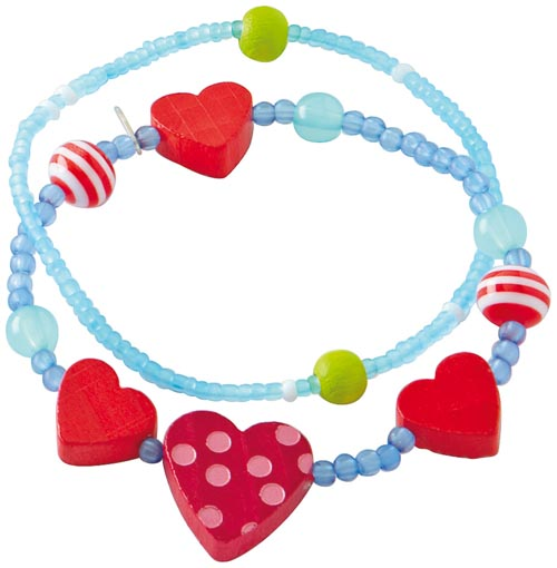 Haba Armband Hjärtan blå