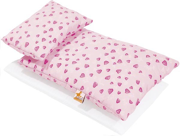 Pinolino Bäddset docksäng Hjärtan rosa