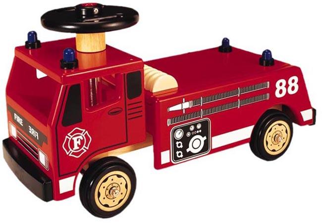 Pintoy Åkbrandbil - Träbil att sitta på