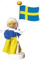 Butticki Sverigeflicka vid flagga