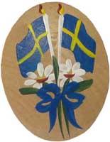 Kylskåpsmagnet Flagga och blommor