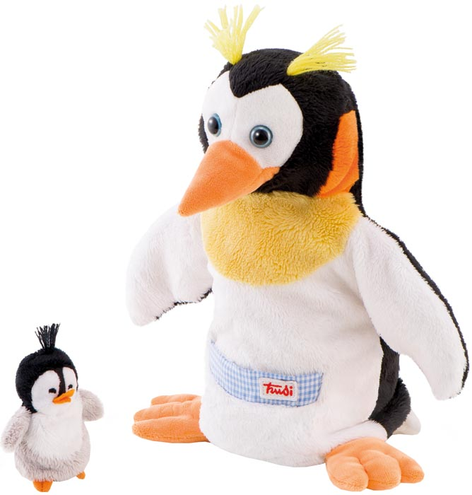 Trudi handdocka Pingvin med fingerdocka