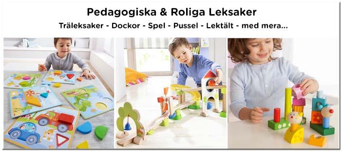 Leksaker - Träleksaker, dockor, spel, pussel med mera.
