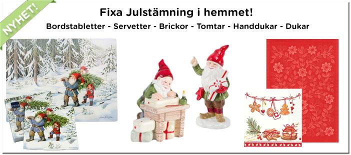 Julservetter, julhanddukar, tomtar med mera...