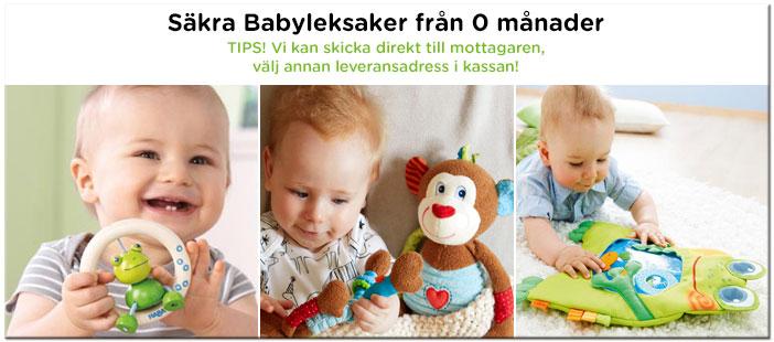 Säkra babyleksaker från 0 månader;