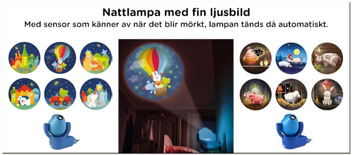 Nattlampa barn - Nattlampa med fint motiv i taket