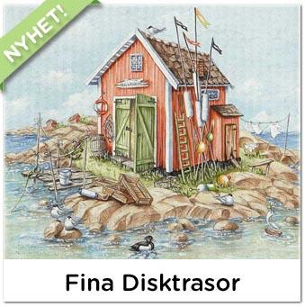 Fina disktrasor med tryck, design Marie Stendahl